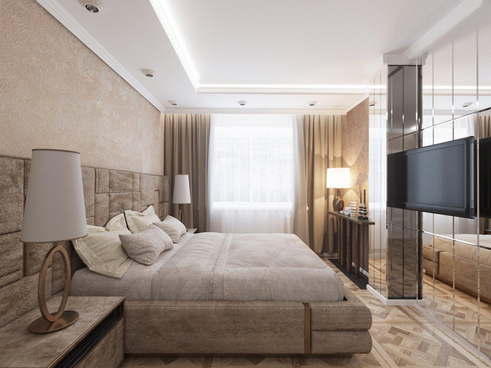 проект спальни в бежевых тонах
