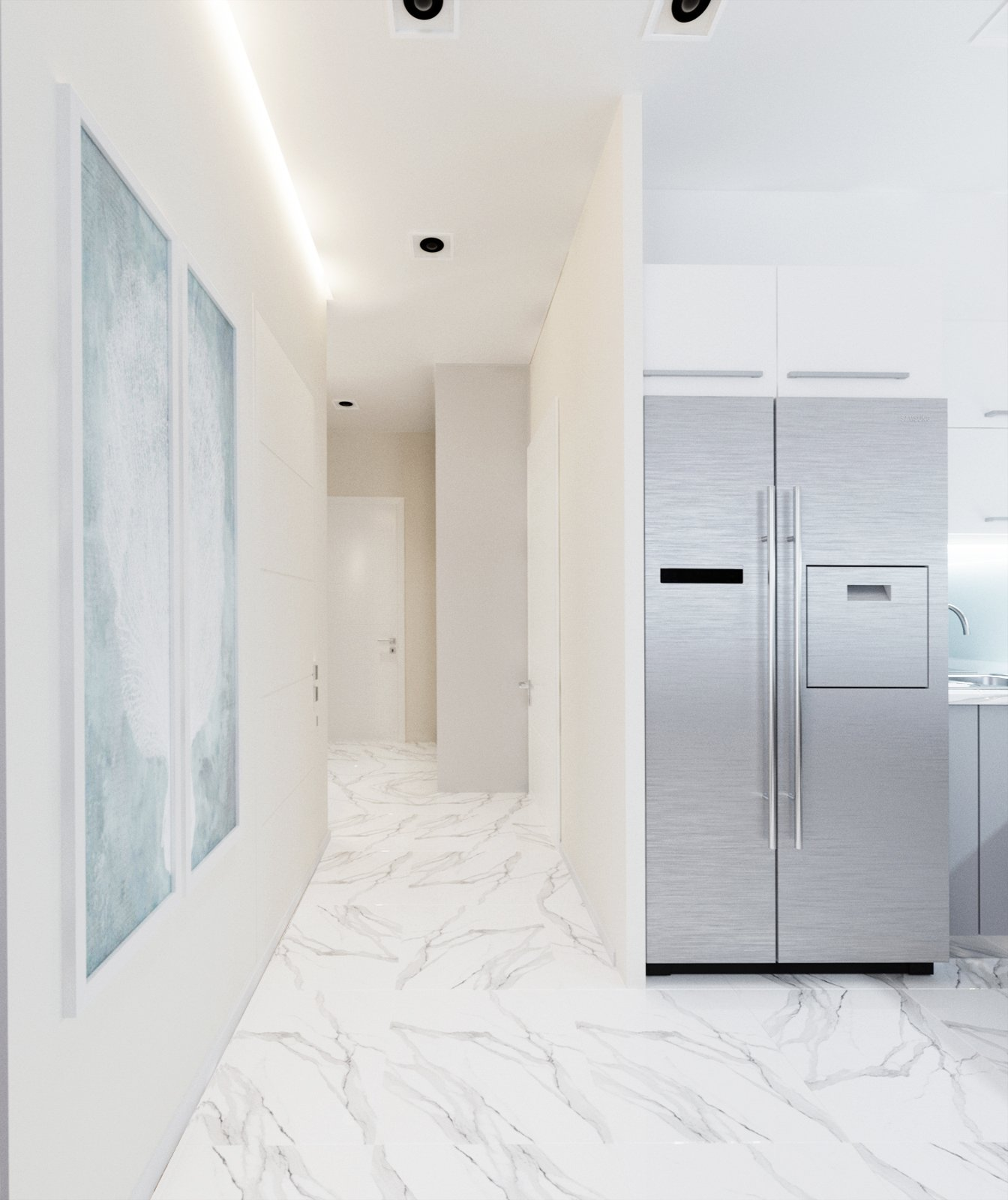 белая плитка на полу в кухне